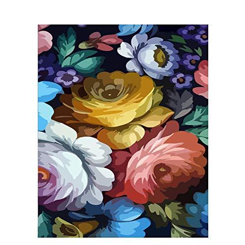 DSJDSFH Dipingere con I Numeri Fiori DIY Digital Painting By Numbers Modern Wall Art Canvas Pittura Home Decor 40X50Cm Fiori Che Sbocciano (Senza Telaio)