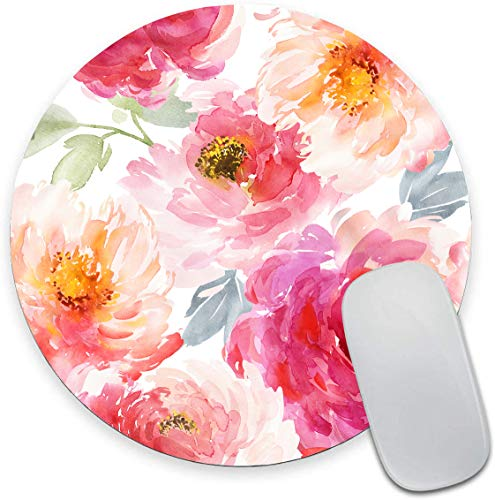 Round Mouse Pad, Pink Watercolor Peony Flower Mouse Pad, Floral Gaming Mouse Mat Waterproof Circular Small Mouse Pad Non-Slip Rubber Base MousePads for Office Home Laptop Travel, 7.9'x0.12' Inch