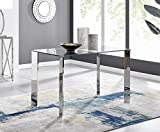 Furniturebox UK Lucia 4 Clear Glass And Chrome Metal Modern Stylish Dining Table And 4 Stylish Lorenzo Dining Chairs Set (Dining Table Only)