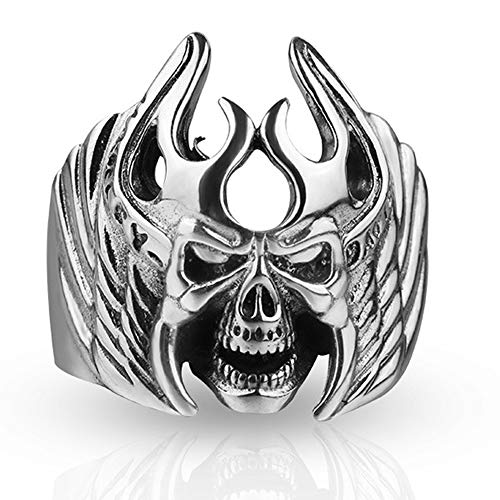 Handmade 999 Sterling Silver Open Adjustable Skull Ring for Men and Women, Domineering Punk Hip-Hop Female Devil Jewelry Gift