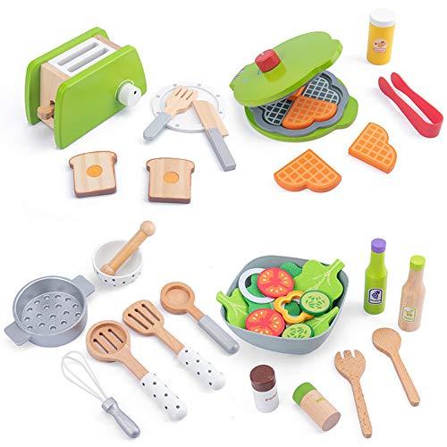 zyeziwhs Juego de comida de pretender, juego de cocina, máquina de pan simulación y máquina de panqueques, utensilios de cocina, accesorios de aprendizaje para niños pequeños, niñas y niños