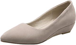 [Coolulu] レディースシューズ ウエッジソール パンプス ポインテッドトゥ ローヒール レディース パンプス 太ヒール レディース 履きやすい靴