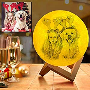 Customized Moon Lamp with Photo Engraved, Personalized Moon lamp Personalized Picture Gifts for Birthday and Valentine's Day