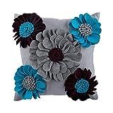 55x55 cm Fundas De Almohada, Azul Cubierta De Cojines Decorativos, 3D Fieltro Flor De La Dalia De Origami Cubierta De Almohadas, Sintió Moderno Cubierta De Cojines Decorativos - Bloomingdale