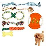 HAKADI犬ロープおもちゃ 犬おもちゃ 噛むおもちゃ 犬用玩具 ペット用 コットン 犬向けストレス解消 丈夫 耐久性 清潔 歯磨き 頑丈 小型犬・中型犬に適応 (7個 セット)