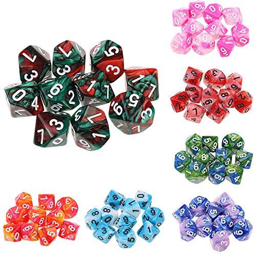 JenLn Juego de dados digitales de 10 caras de 2 colores de 0 a 9 dados de diez caras multicaras (7 juegos) dados de juego de rol (color: color A, tamaño: 15 mm)