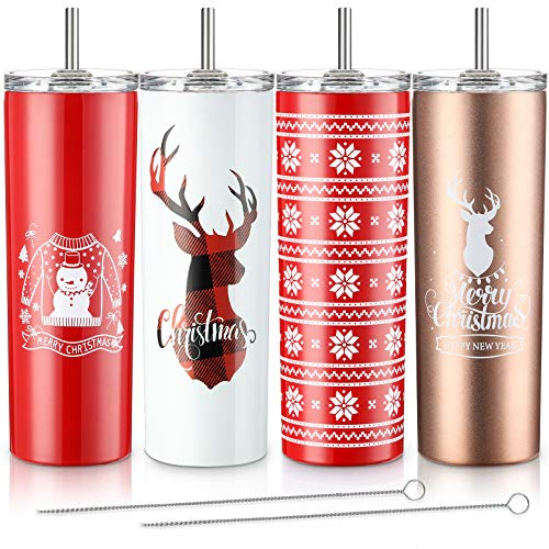 4 Pieces Christmas Style Tumbler Set Classic Tumbler Stainless Steel Double-Insulated Water Tumbler Cup with Lid and Straw 20 oz Vacuum Travel Mug with Cleaning Brush