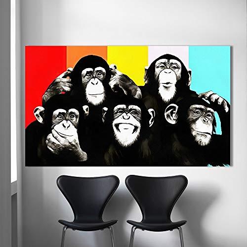 Sanzangtang Poster en afdrukken dier canvas kunst olieverfschilderij pop-art plezier chimpanse woonkamer muurschildering afdrukken decoratie zonder lijst
