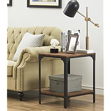 """O&K Furniture 24"""" Height Square End/Side Table/Night Stand with Storage Shelf, Brown(1-Pcs)"""