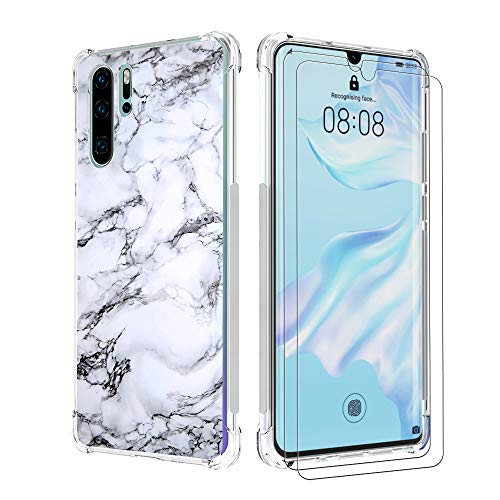 shumei Funda Huawei P30 Pro con Protectores de 2 Pantalla, Carcasa Trasera Protectora Transparente y Suave de TPU a Prueba de Huawei P30 Pro Funda para teléfono móvil (Mármol)