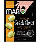 Mario Camacho Foods Pitted Snack Olives, Seasoned Green Garlic Olives, 1.05 Ounce, Pack of...