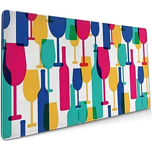 Cocktailgläser und Weinflaschen Mauspad rutschfeste Gummibasis Mauspad für Laptop-Computer PC