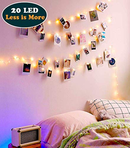 EZDC 20 LED Photo Clip String Lights, Fairy Lights with Clips, Lights with Clips for Pictures, Polaroid Lights with Clips for Bedroom & Dorm Room Decoration