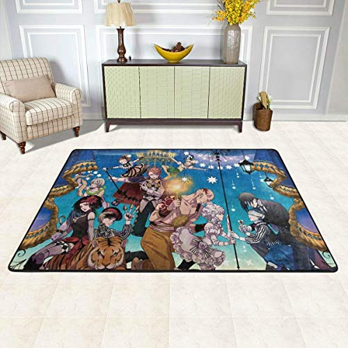 Black Butler Non-Slip Carpet Area Rug Modern Flannel Microfiber Anime/Cartoon Rectangle Carpet Decor Floor Rug Living Room,Bedroom,Study Floor Mat 90x60cm
