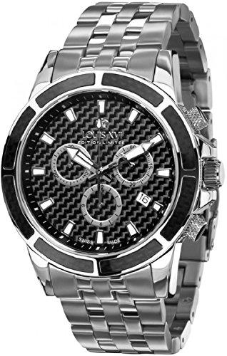 LOUIS XVI Herren-Armbanduhr Majesté Stahlband Silber Schwarz Karbon Chronograph Analog Quarz Edelstahl 452