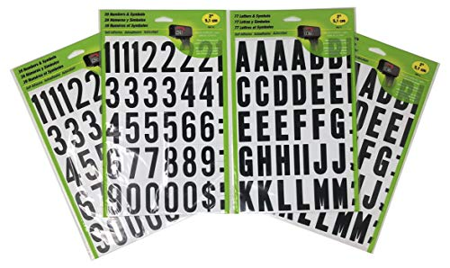 HY-KO Self-Adhesive 2 inches Black and White Vinyl Numbers (2-Pack) and Letters (2-Pack) Bundle