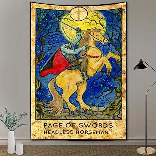 Tapiz de cartas de Tarot de jinete sin cabeza Página de espadas Jinete sin cabeza Tapiz de cartas de tarot estético Europa medieval Adivinación Tapices para colgar en la pared para dormitorio