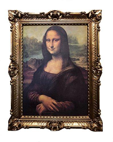 Made in Italy Mona Lisa Bild mit Barock Rahmen Wandbild von Leonardo da Vinci 70x90cm Kunstdrucke Gemälde Retro Repro Antik für Home Büro Praxis Café