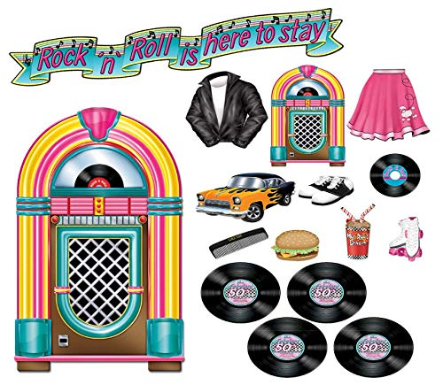 Beistle 50's Sock Hop Party Decorations Supplies Kit with Rock 'n' Roll Party Banner and 1950's-Theme Cutouts of Vintage Records, Jukebox, Poodle Skirt, Roller Skates, and More!
