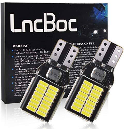 LncBoc W16W T15 LED Bombillas CANBUS Error Gratuito 54SMD 4014, para Coche Luz de Estacionamiento Copia de Seguridad Luz de Marcha Atrás Bombilla 12V 24V 6500K Blanco, 2 piezas