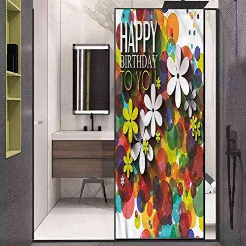 "Window Film Privacy Window,Daisies Dots Best Wish UV Window Sticker for Bathroom Bedroom Living Room,23.6"" W x 35.4"" L inches"