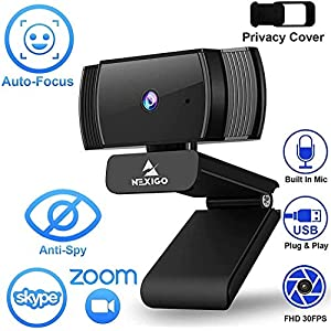 NexiGo AutoFocus 1080p Webcam with Stereo Microphone, Privacy Cover and Software Control, N930AF FHD USB Web Camera…