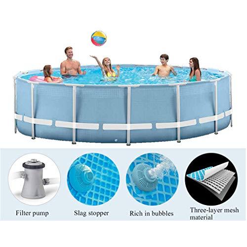 Swimming Pool Piscine Ronde Cadre Piscine Hors-Sol Set Modèle étang Famille Piscine Filtre Pompe Cadre Structure Métallique Piscine 366 * 76cm Grey-366 * 76cm