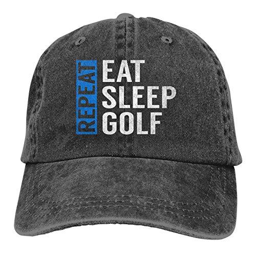 Jopath Eat Sleep Golf Repeat Funny Golfer Unisex Deportes Denim Cap Baseball Hat Vintage Ajustable Sombrero de Vaquero