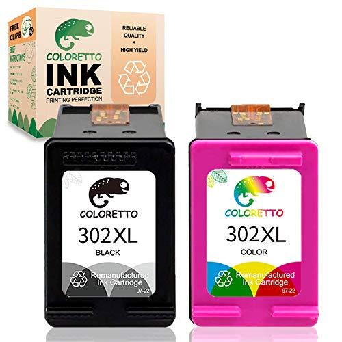 Cartouche d'encre remanufacturée COLORETTO pour remplacer Les Cartouches HP 302xl 302 XL (1 Noire,1 Couleur) à Utiliser avec Les imprimantes Deskjet 1110 2130 2132 Envy 4520 4522 Officejet 3830 4658