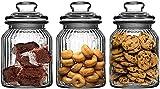 KELVEE Glass jar with Air Tight Lid for Herbs Jar,Jam Jar,Cookie Jar,pop Glass jar,Biscuit Glass Jar,Masla Storage Glass Jar-350 ML ,Set of 3