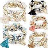 5 PACK Multilayer Bohemian Beaded Bangle Bracelet Crystal Charm Stretch Beach Stack-able Multi-color Boho Bracelets Jewelry Set