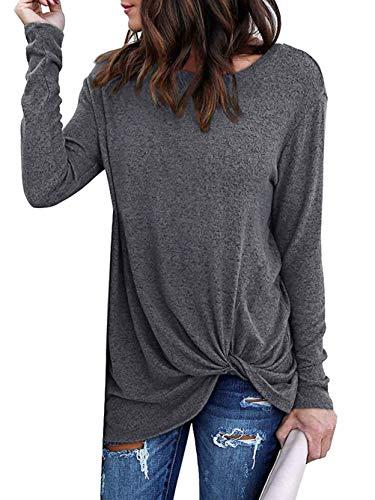 Yidarton Women's Comfy Casual Twist Knot Tunics Tops Blouses Tshirts Dark Grey