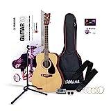 Yamaha GuitarGo – Kit d'initiation – Pack guitare acoustique pour débutants et guitaristes confirmés – Cordes, médiator, housse de transport, accordeur, trépied pour guitare et plus encore
