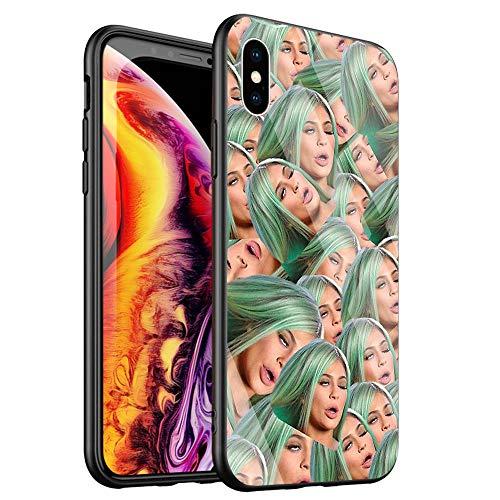 DTYZL, cover posteriore in vetro temperato e telaio in morbido silicone TPU, resistente a graffi e cadute, DT-53 Kimoji Kim Kardashian North Kylie Jenner for iPhone XS Max 6