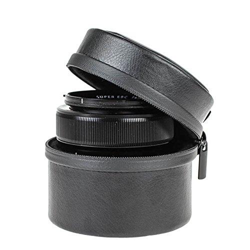 Quenox Retro-Objektivköcher in Lederoptik (Objektivtasche, Objektivbeutel) für Systemkamera-Objektiv, Leica-Objektiv oder Sony QX10 - innen 36 x 70 mm