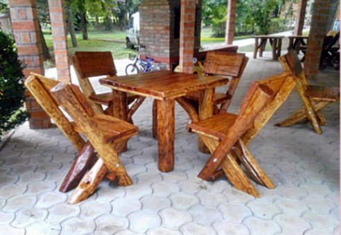 Casa Padrino garden furniture set Rustic table + 4 garden chairs - solid oak - solid wood furniture Solid