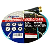 AlphaWorks Garden Water Hose 5/8' Inch x 3' Foot Heavy Duty Premium Commercial Ultra Flex Hybrid Polymer Lead-in Hose Max Pressure 150 PSI/10 BAR with 3/4' GHT Fittings