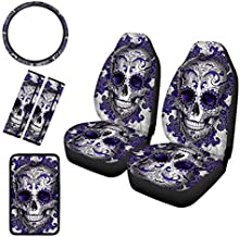 GePrint Purple Candy Skull Pattern Universal 6 Pcs Combo Seat Covers Set with Steering Wheel Cover/Seat Belt Pad/Center Console Armrest Pad, Universal Fit Vehicles