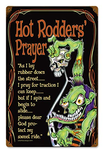 Losea Hot Rod Prayer Vintage Style Metal Signs As Wall Decor, Decorative Retro Coffee Bar Sign, 12 x 8 Inches