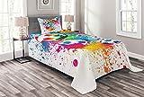 ABAKUHAUS Fußball Tagesdecke Set, Bunter Spritzer Ball, Set mit Kissenbezug Weicher Stoff, für Einzelbetten 170 x 220 cm, Mehrfarbig