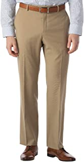 بناطيل رجالي من Ballin Modern Fit Dress Pants SOHO Comfort EZE Super 120's Gabardine ، أسمر ضارب للصفرة 42