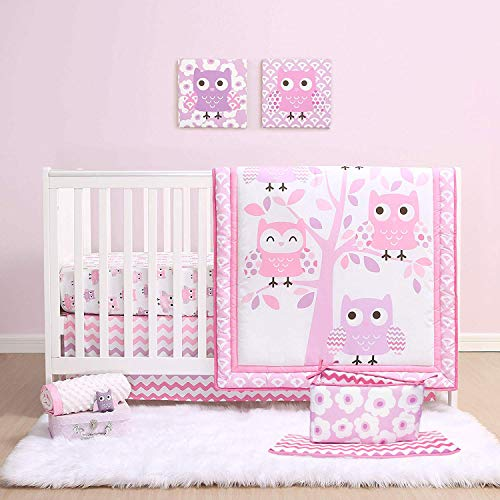 Pink Dancing Owls 4 Piece Baby Girl Crib Bedding Set Including Bumper