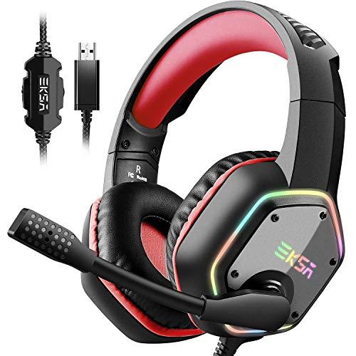 EKSA E1000 USB Gaming Headset für PC - Over Ear Headphones mit Kabel, Nosie Cancelling Mic, 7.1 Surround Sound, RGB-Licht - Gaming Kopfhörer mit Mikrofon für PS4/PS5 Konsole, Laptop - Rot