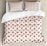 Juego de funda nórdica retro, diseño de ramillete de ramo de flores de rosas románticas sobre fondo de lunares, juego de cama decorativo de 3 piezas con 2 fundas de almohada, crema rosa pálido rosa os