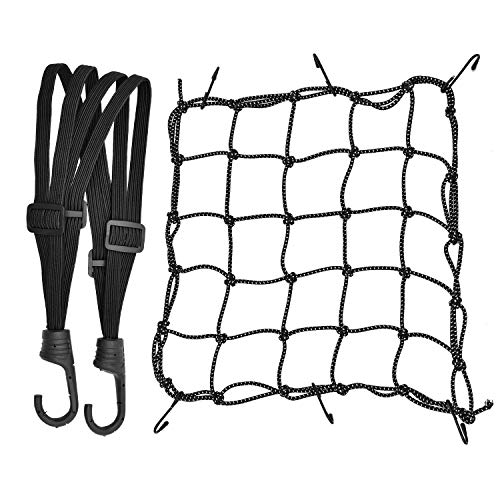 1 Stück Motorrad Gepäcknetz Dehnbar Reflektieren Netz Helmnetz mit Haken und 1 Stück Elastisches Gepäckband Gummizug für Fahrrad Motorrad Transport