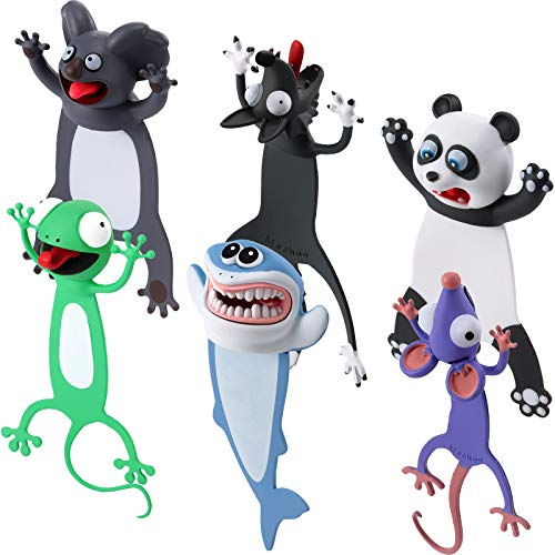 6 Segnalibri di Animali 3D Cartoon Segnalibro Stravagante Simpatici Segnalibri Divertenti Segnalibro Kawaii Cancelleria Bomboniere per Compleanno Natale per Alunno (Stili Accattivanti)