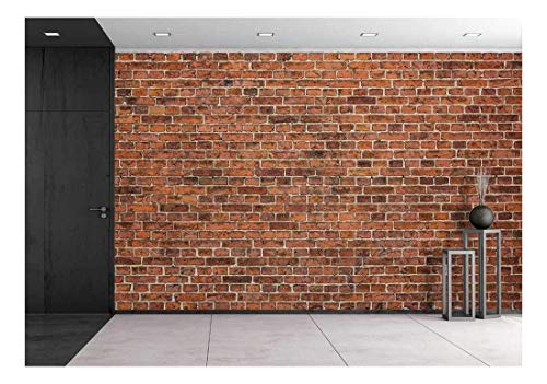wall26 - Grunge Red Brick Wall Background with Copy Space - Removable Wall Mural | Self-Adhesive Large Wallpaper - 66x96 inches
