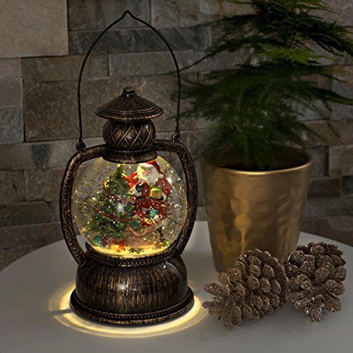 Direct Global Trading LED Christmas Lantern with Santa...