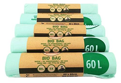Dumil Bio Kompostbeutel 60l - 100{126832e9eeaf1eeca99d4ec96130ebc0d1014c06f6f95cb56e2fd16daeceb7a4} kompostierbar & biologisch abbaubar I 25 Stück Bio-Müllbeutel 60 x 80 cm
