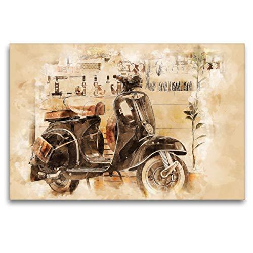 Premium Textil-Leinwand 120 x 80 cm Quer-Format Vespa Mototrroller | Wandbild, HD-Bild auf Keilrahmen, Fertigbild auf hochwertigem Vlies, Leinwanddruck von Peter Roder